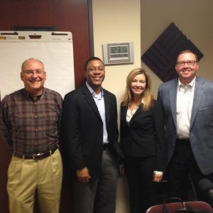 Mary Elizabeth Sadd with Pinnacle Search Partners, Larry Nemeth and Kevin Kinzler with Unishippers Global Logistics, Kevin Johnson with Johnson Media and Steven Pohl with Novelis