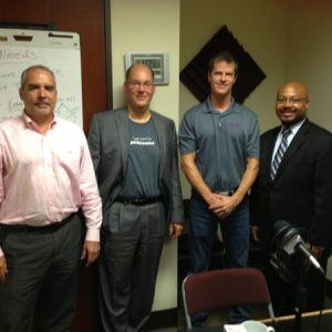 Ken Robbins with Response Mine Interactive, Steve Kapaun with TrainingPros, Perry Bell with Solar Energy USA and Brian Simon with Unishippers