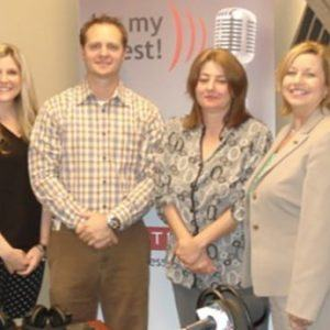 OPEN FOR BUSINESS: Stephanie Moyer & Kevin Ford with Insperity, Norma West with Country Financial, Johnny Phelps with Harry Norman Realtors, and Stephanie Sokenis with the Gwinnett Chamber of Commerce