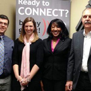 OPEN FOR BUSINESS: Malcolm Evans and Sales Accent, Vlad Rusz with Sterling Rose Consulting Corp, Katie Grubbs with SuperScribe, Shevonn Willis with The Smith Willis Firm, and Vince DeSilva with the Gwinnett Chamber of Commerce