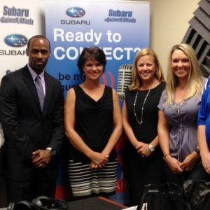 Teresa Holloway with Sugarloaf Mills, Marques Burnett with The Sports Utility Vehicle, Steve Kendrick and Jennifer Kessler with Subaru of Gwinnett, and Julie Mills-Watson with Body of Health and Life