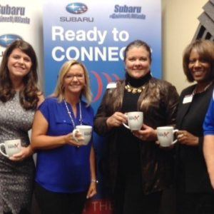 Holly Willis and Lori Haigwood with USA Payroll and Michelle Hanchey and Netania Walker with Toastmasters International