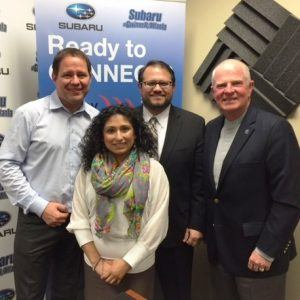 OPEN FOR BUSINESS: Stephanie Christopolous with Organized Chick, Bruno Taillefer with Minuteman Press of Duluth and Nick Masino with the Gwinnett Chamber of Commerce