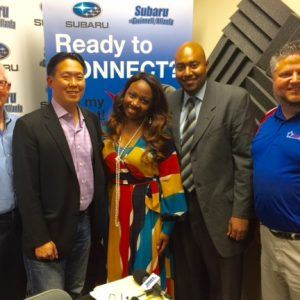 OPEN FOR BUSINESS: Doug Ireland with Freeland Painting & Construction, A.C. Chan with Power Slide, Sterling Porter with Sterling Porter CPA, and Courtney Spencer with the Gwinnett Chamber of Commerce