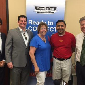 Pat O'Rourke with Practice Quotient, Mary Becker with Best Deal Movers, and Nick Patel with Salsarita's