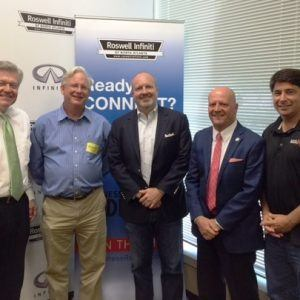 Mayor Jere Wood with the City of Roswell, Steve Schilling with Digital Ignition, and Dr. Glenn Cannon with Gwinnett Tech
