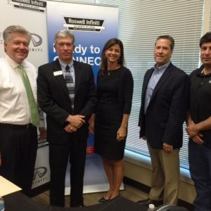 Bill May with Ecycle Atlanta, Linda Coyle with LGE Community Credit Union, and Rick Newcomer with Signal Outdoor Advertising