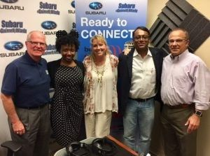OPEN FOR BUSINESS: Joe Moss with Embassy National Bank, Dawn Poplawski with PCC Innovative Solutions, Neel Majumdar with Protiva Consulting, Courtney Spencer with the Gwinnett Chamber of Commerce