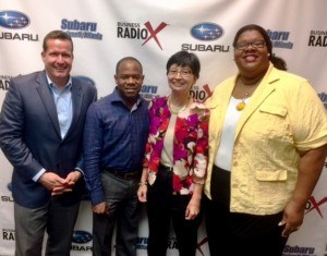 Neil Stevens with Oconee State Bank, Trevin Dye with JETRO and Beth Mathews with JapanFest