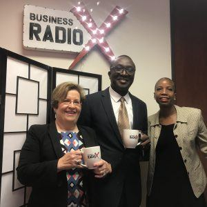 Marilyn Margolis and Dr. Adedapo Odetoyinbo with Emory Johns Creek Hospital