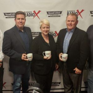 Joel Docking with Chuy's Tex-Mex, Dr. Nikki Tobias with Grounded Vision, and Gary Robinson with Panel Systems Unlimited