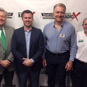Greg Eldridge with Home Helpers of Alpharetta, Will Nobles with Vector Choice Technology Solutions, and Jon Wittenberg with Minuteman Press Sandy Springs