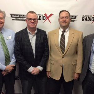 Jeff Petrea with Georgia Power, Thomas Heaton with the Small Business Development Center at Georgia State, and Bob Woosley with Frazier & Deeter