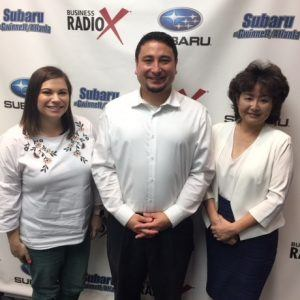 Yoshi Domoto with Japan-America Society of Georgia & JapanFest, Brittany Luiz with American Tombow and Masae Okura with Taylor English Duma