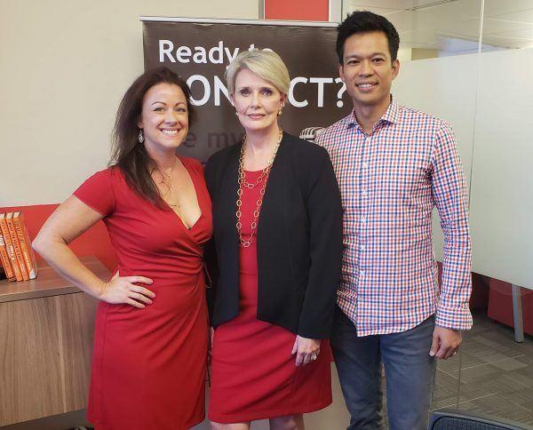 Radio-Host-Deb-Caron-with-Levelhead-CEO-Saundra-Schrock-and-Tallwave-COO-Ed-Borromeo-on-Business-RadioX