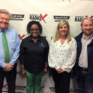 Dr. Jerrica Dodd with Your Pharmacy Advocate and Brittany Brown & Roger Hodge with the H & F Bread Co.