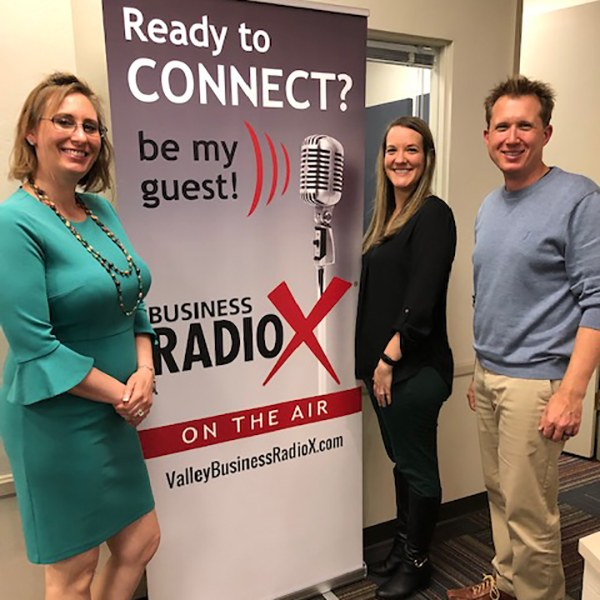 Diane Palacios and Devon Garza with Jewish Family and Children's Service with Dr. Adrian McIntyre at Valley Business RadioX in Phoenix, AZ