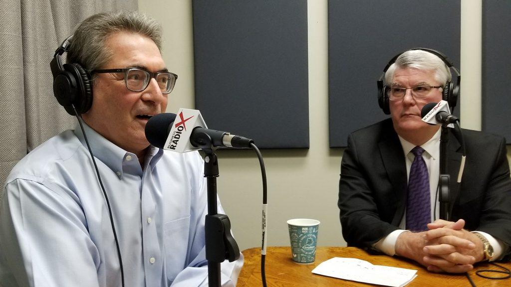 Timothy Moser with Quarles & Brady and Mike Brown with Washington Federal in the studio at Valley Business RadioX in Phoenix, AZ