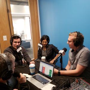 Andrew Gowasack with TrustStamp, Charu Thomas with Oculogx and Zachary Aten with Grassroots Labs