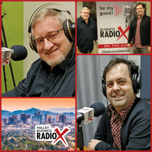 Gregg Edelman with Exposed Studio & Gallery and Brad Moore with Short Leash Hotdogs + Rollover Donuts visit Valley Business RadioX in Phoenix, AZ