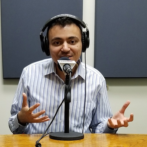Neel Mehta with EpiFinder and EpiBuild in the studio at Valley Business RadioX in Phoenix, AZ