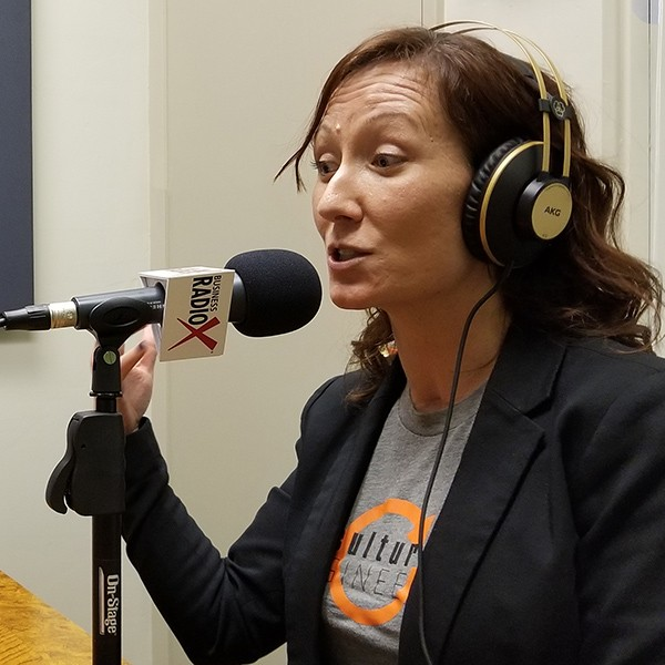 Teresa Marzolph with Culture Engineered in the studio at Valley Business RadioX in Phoenix, AZ