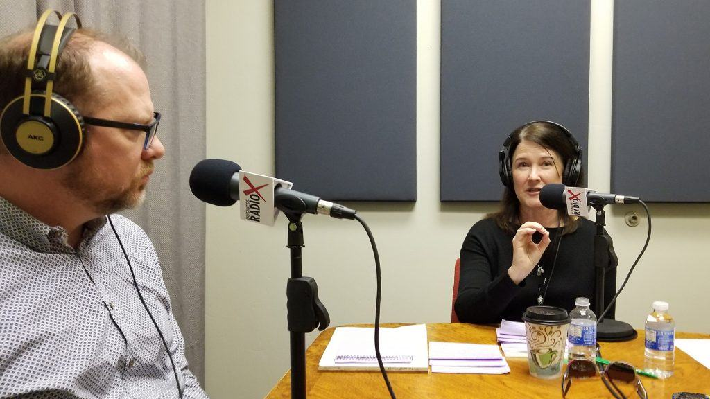 Chad Barnett with Foods 2000 and Marisa Felker with Washington Federal in the studio at Valley Business RadioX in Phoenix, AZ