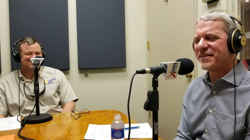 Corey Garrison with SouthFace Solar & Electric and Joe Cunningham with Sunny Energy in the studio at Valley Business RadioX in Phoenix, AZ