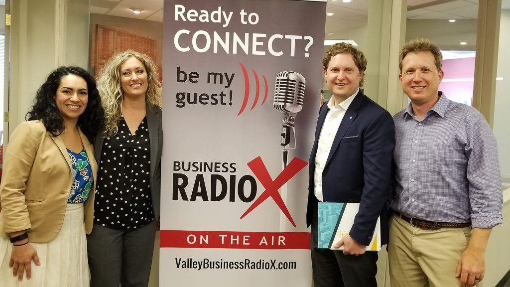 Lori Collins with the City of Phoenix, Denyse Airheart with the City of Maricopa, and Brad Vynalek with Quarles & Brady visit Valley Business RadioX in Phoenix, AZ