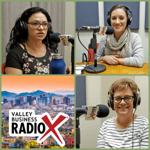 Jeri Royce, Maria Valenzuela, and Anna Ortiz with Esperança visit Valley Business RadioX in Phoenix, AZ