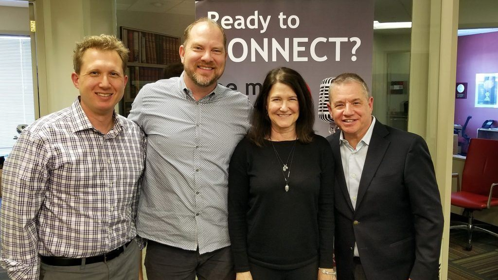 Dr. Adrian McIntyre with Chad Barnett of Foods 2000, Marisa Felker of Washington Federal, and Jeffrey Wolf of Quarles & Brady at Valley Business RadioX in Phoenix, AZ