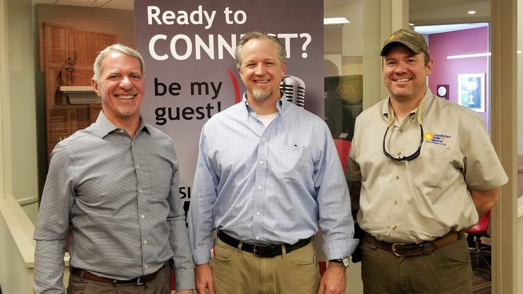 Joe Cunningham with Sunny Energy, Scott Hufford with Chasse Building Team, and Corey Garrison with SouthFace Solar & Electric at Valley Business RadioX in Phoenix, AZ