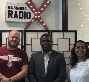 Avery Munnings with Deloitte, Akila McConnell with Unexpected Atlanta and Scott Russ with Bedlam Vodka