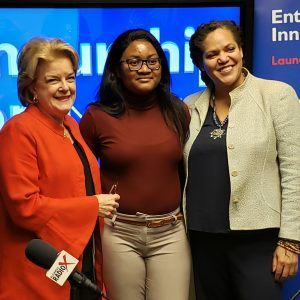 Dr. Nancy Mansfield with WomenLead, Dr. Isabelle Moniouis with the Entrepreneurship and Innovation Institute and Nastai Ndebele with Our Journey Through Code