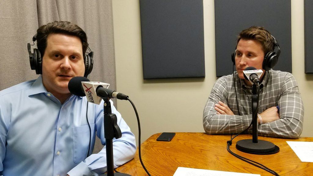 Ben Graff and Jason Wood with Quarles & Brady in the studio at Valley Business RadioX in Phoenix, Arizona