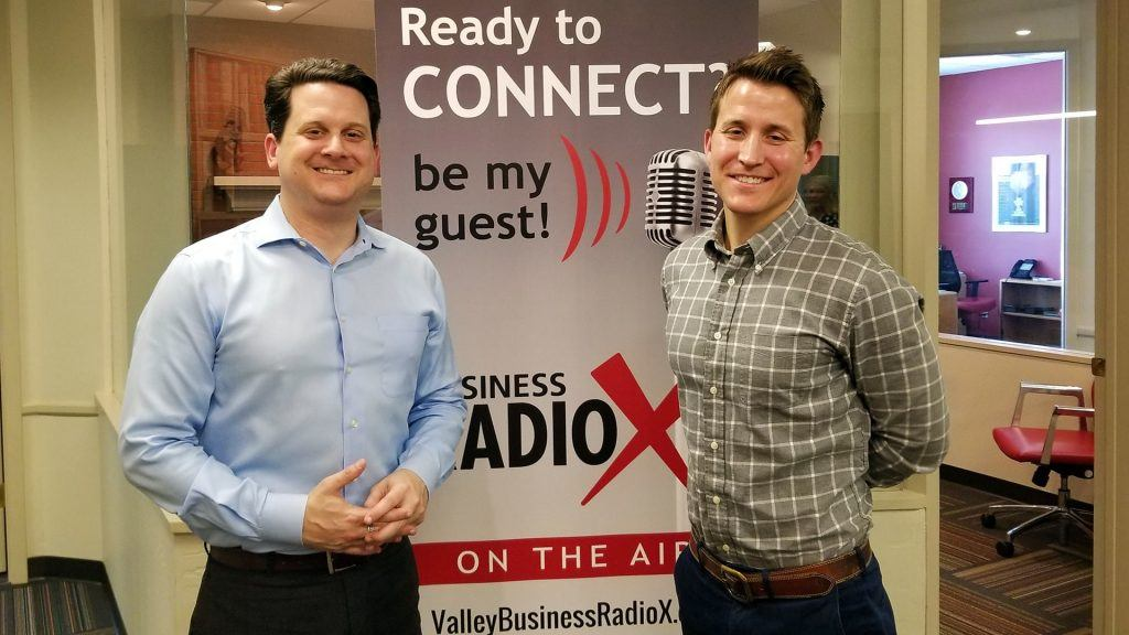 Ben Graff and Jason Wood with Quarles & Brady visiting Valley Business RadioX in Phoenix, Arizona