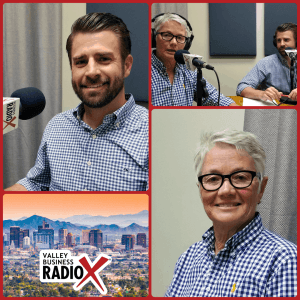 Ellen Clark with Heidi's Village and Fred Bueler with Chasse Building Team visit Valley Business RadioX in Phoenix, Arizona