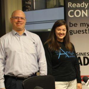 Andy Goldstrom with GSU ENI and Savannah Samples with Angel Assistance