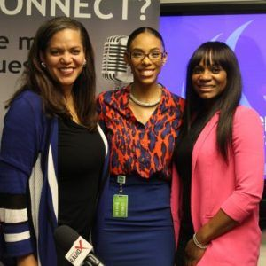 Dr. Isabelle Monlouis with Entrepreneurship and Innovation Institute and Chante Knox and Dia Davis with DelivHer