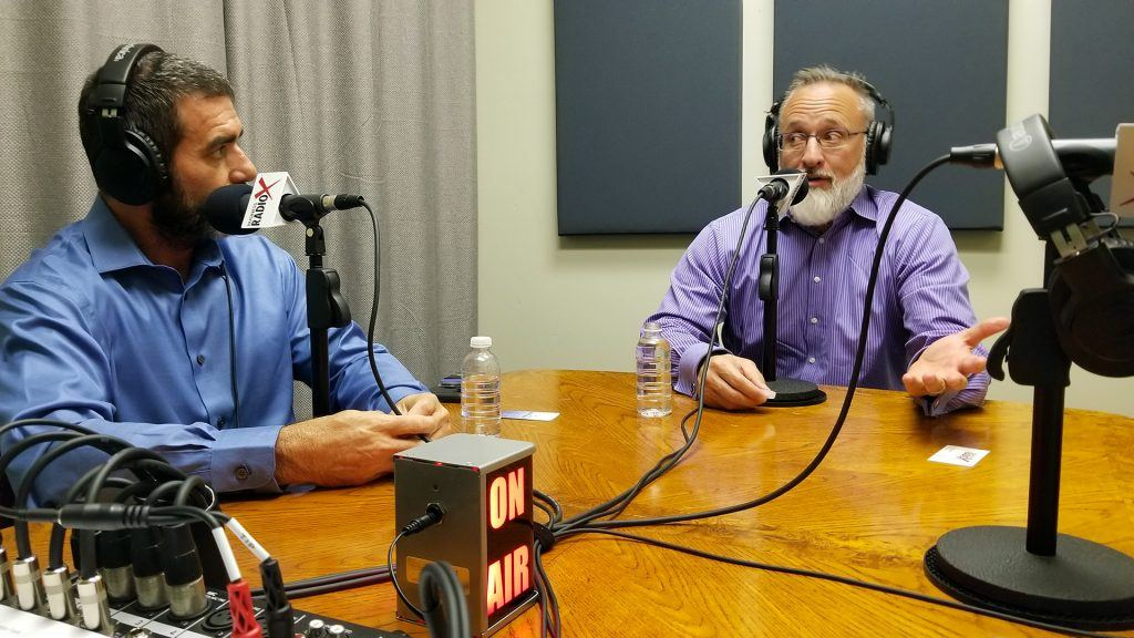 Joe Haldiman with Fit N' Seal and Linc Miller with Sandler Training on the radio at Valley Business RadioX in Phoenix, Arizona