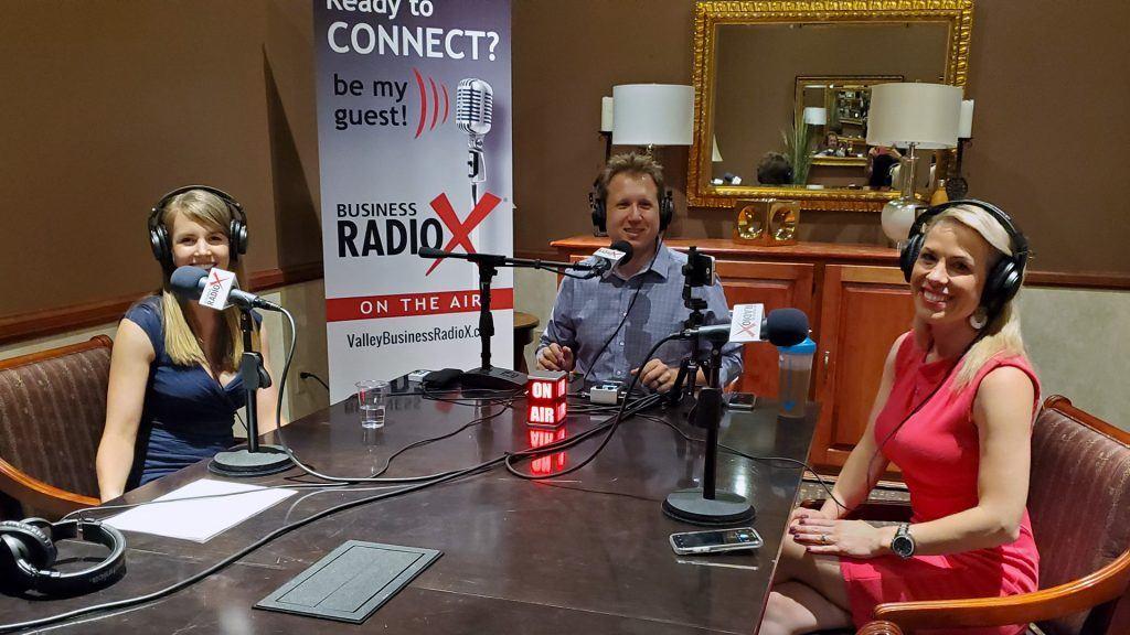 Amelia Warren, Adrian McIntyre, and Crystal MacGregor on the Valley Business Radio show in Phoenix, Arizona