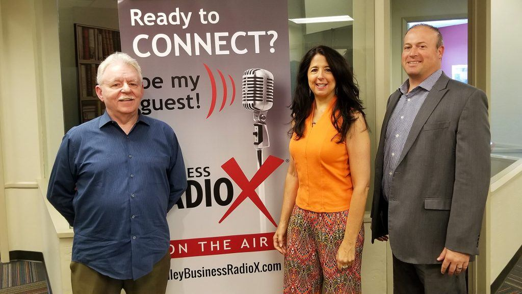 Barney Davey, Karen Jacobson, and Jeffrey Lynch visit the Valley Business RadioX studio in Phoenix, Arizona