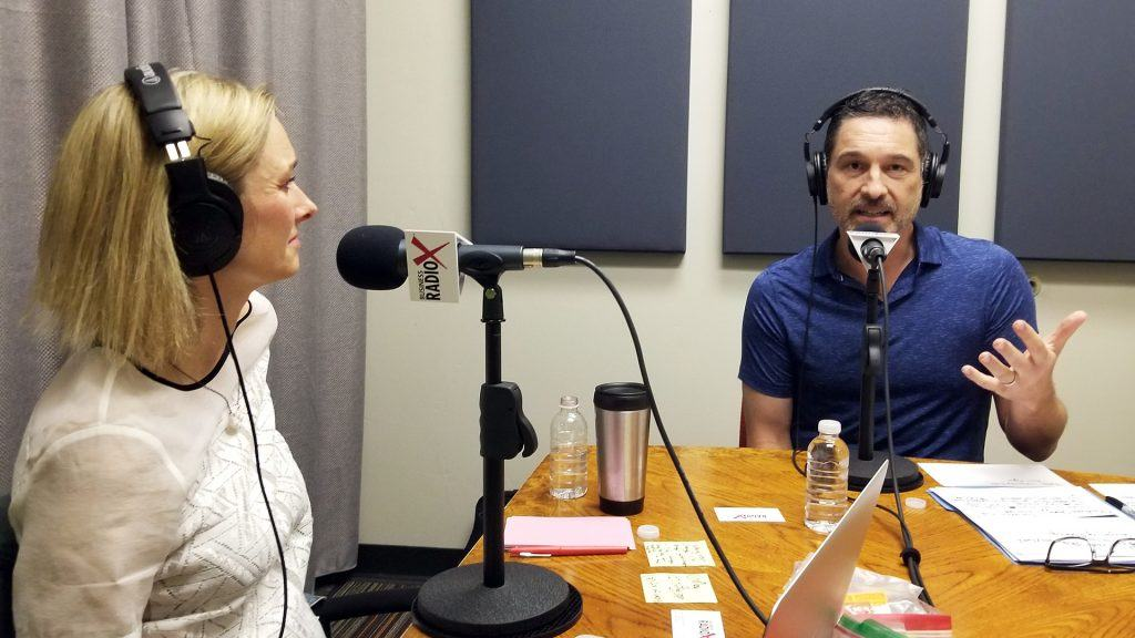 Camilla Nørgaard Jensen and Raoul Encinas visit the Valley Business RadioX studio in Phoenix, Arizona