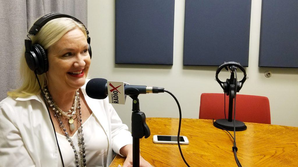 Carole Baker with Cherry Pie Social and Bathrobe Nation on the radio at Valley Business RadioX in Phoenix, Arizona