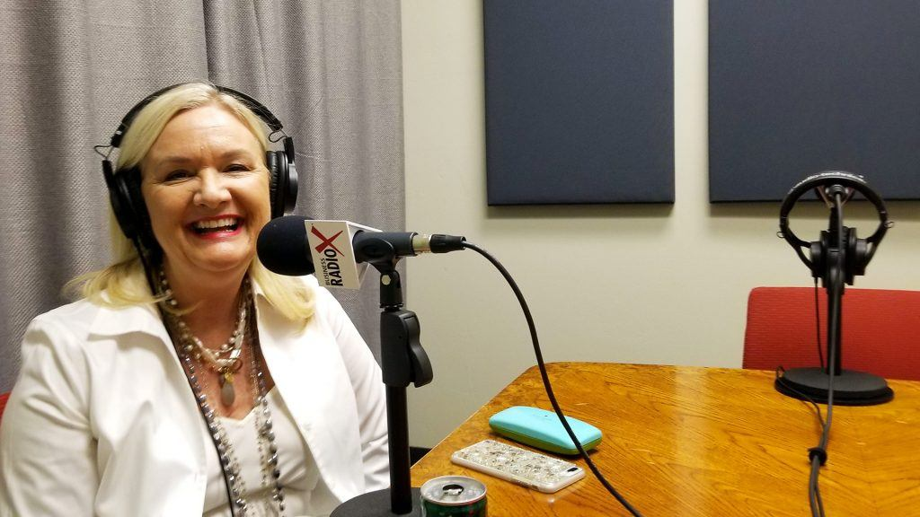 Carole Baker with Cherry Pie Social and Bathrobe Nation speaking on Valley Business RadioX in Phoenix, Arizona