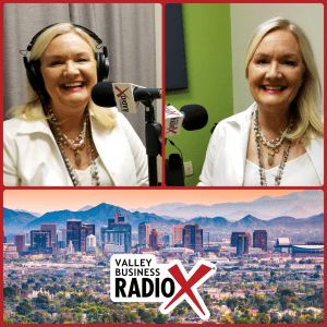 Carole Baker with Cherry Pie Social and Bathrobe Nation broadcasting live from the Valley Business RadioX studio in Phoenix, Arizona