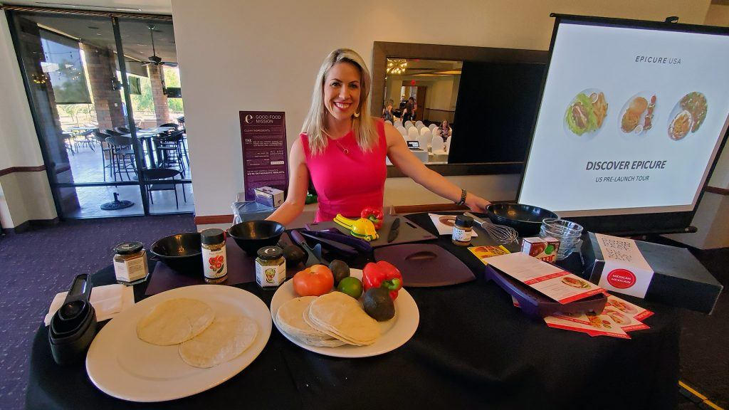 Crystal MacGregor with Epicure demonstrates food preparation and spice blends.