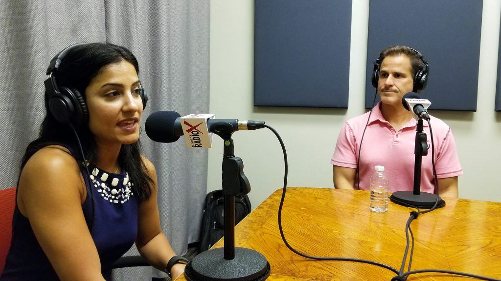 Dala Al-Fuwaires with FJI and David DeLorenzo with Bar & Restaurant Insurance on the radio at Valley Business RadioX in Phoenix, Arizona