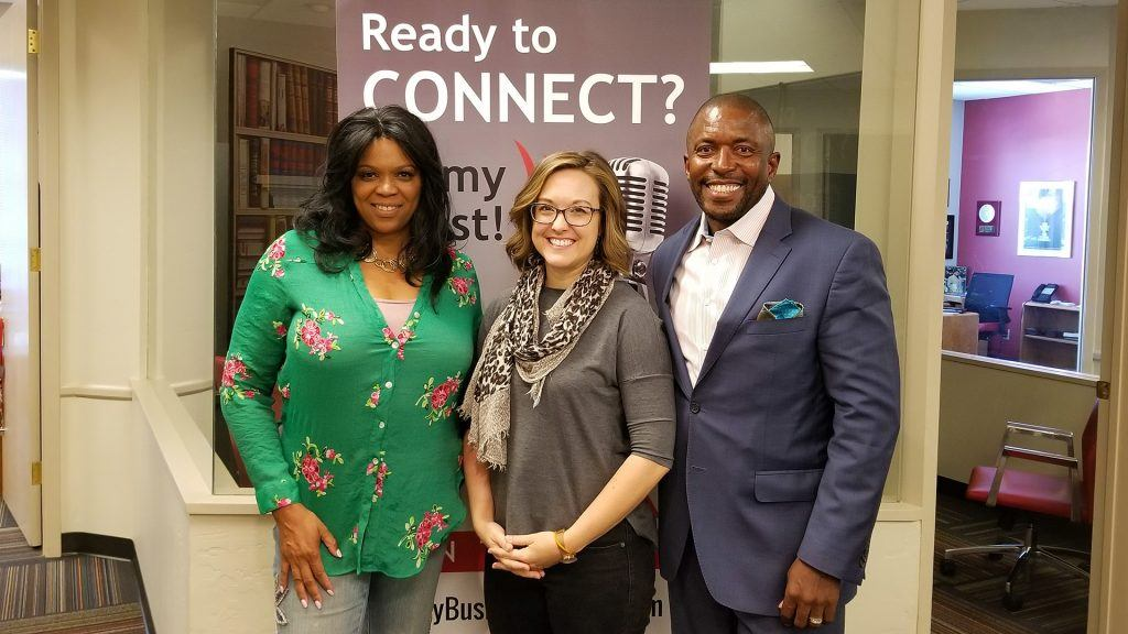 LT Ladino Bryson with vCandidates.com, Lisa Glenn Nobles with CO+HOOTS Foundation, and Robin Reed with Black Chamber of Arizona visit the Valley Business RadioX studio in Phoenix, Arizona