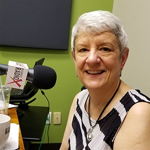 Laurie Battaglia with Aligned at Work in the studio at Valley Business RadioX in Phoenix, Arizona